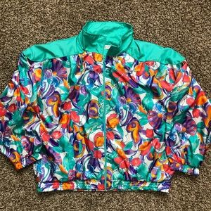 Crazy Floral Print Windbreaker